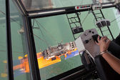 Gantry harbor crane operator — Stock Photo