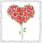 The tree of the heart from roses — Stock Vector