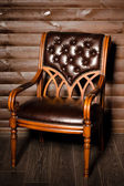 Brown leather chair — Stock Photo