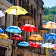 Stock Photo: Hanging umbrellas