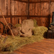Hay covered with a cloth at the farm — Stock Photo