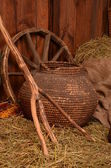 Hay with different rural things — Стоковое фото