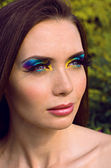 Woman with bright make up — Stok fotoğraf