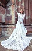 Woman in white wedding dress — Stock Photo