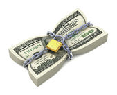 Dollar stack tied by chains — Stock Photo