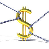 Dollar sign tied by chains — Stock Photo