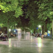 Stock Video: Time Lapse stroll along Boulevard at night