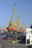 Jeřáby v přístavu — Stock fotografie