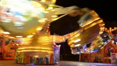 Rotating Carousel at an Luna Park — Stock Video