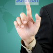 Stock Photo: Businessman hand touching solution button
