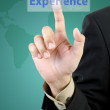 Businessmhand touching experience button — Foto de stock #35037191