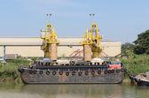 Ship and port with loading sacks rice. — Stock Photo
