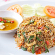 Thai spicy food basil shrimp fried rice recipe — Stock Photo #39990425