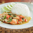 Frired shrimp squid with basil leaves ,Steamed rice — Stock Photo #39991233