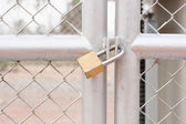 Metal door with lock — Stock Photo