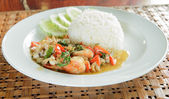Frired shrimp squid with basil leaves ,Steamed rice — Stock Photo