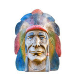 Indian head carving wood — Stock Photo