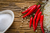 Rice grains and chili — Stock Photo