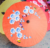 Hand painted Thai umbrellas,Chiang Mai,Thailand — Stock Photo