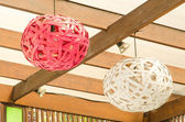 modern design of wood ceiling lamps  — Stock Photo