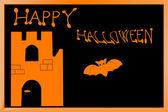 Carte de halloween avec château et bat — Photo