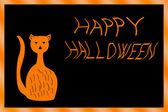 Tarjeta de halloween con gato — Foto de Stock