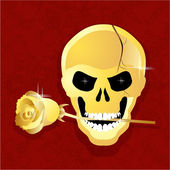 Golden Skull — Stock Vector