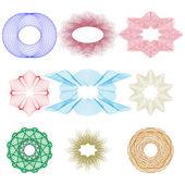 Guillochlu öğeleri ve geometrik desenler — Stok Vektör