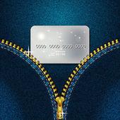 Denim zipper — Stock Vector