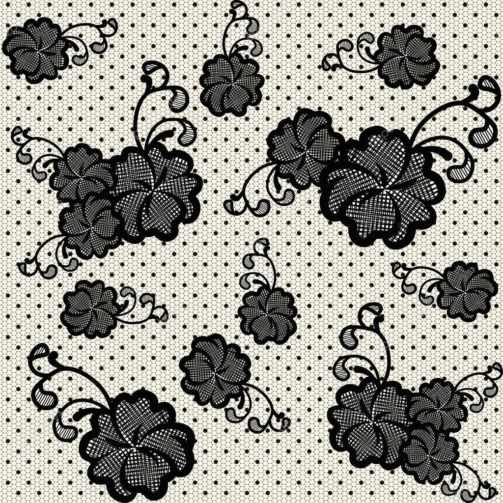 黑色蕾丝无缝花纹理.矢量图