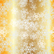 Christmas seamless golden pattern background with bright snowflakes and stars. — Stock Vector
