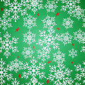 Christmas seamless green pattern background with bright snowflakes and stars. — Vector de stock