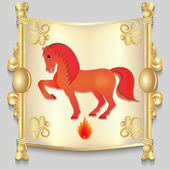 Image of a red horse on the eastern calendar. — Stock Vector