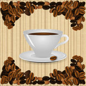A cup of coffee on a beige background vintage striped with realistic coffee beans. — Stock Vector