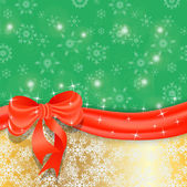 Gold Christmas background with ribbon and bow. — Stock Vector