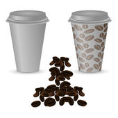 Two plastic cups with coffee: clean and with a picture of coffee beans. — Stock Vector