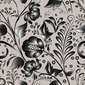 Seamless gray floral pattern — Stock Vector