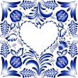 Flower frame in the form of heart. Styling Gzhel. — Stock Vector