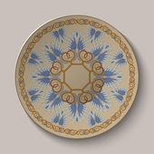 Dish with an ornament in the ancient Greek style — ストックベクタ