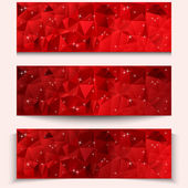 Set of red abstract geometric polygonal banners — Stock Vector