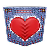 Rear pocket with sewn lace heart — Vector de stock
