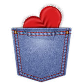 Rear pocket with lace heart — Vector de stock