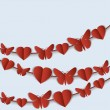 Valentine's Day card with red garlands of hearts and butterflies. — Stock Vector