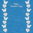 Valentine's Day card with white garlands of hearts and butterflies. — Stockvector