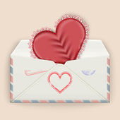 Valentine background. Realistic envelope with attached lace heart. — Stockvektor
