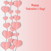 Valentine's Day card with pink garlands of hearts. — Stock Vector