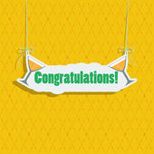 """Greeting card with a signboard """"Congratulations."""" — Stock Vector"""