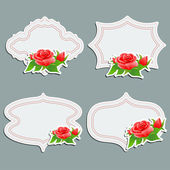 Set of vintage greeting cards with bright rose. — Stock Vector