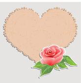 Vintage ευχετήρια κάρτα. πετσετάκι με τη μορφή της καρδιάς και ένα τριαντάφυλλο. — Διανυσματικό Αρχείο