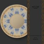 Stylish Greek round ornament on a dark background. Elegant vintage pattern. — Stok Vektör